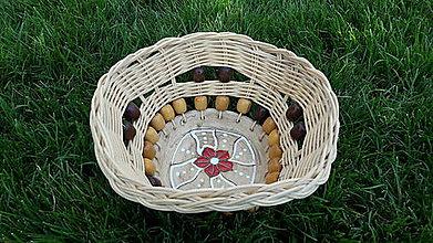 Košíky - Pletený košík s keramikou - 10937352_