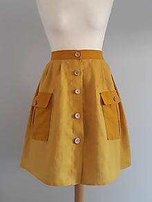 Sukne - Safari sukňa horčicová - 10938671_