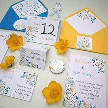 Papiernictvo - Lúka modrožltá - svadobné oznámenie - 10936940_