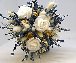 Dekorácie - Kytice sušená levandule a bílé růže - 10936271_