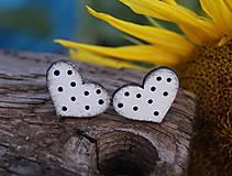 Náušnice - Heart dots mini // White/Black - 10935589_