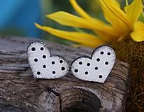 Náušnice - Heart dots mini // White/Black - 10935590_