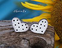 Náušnice - Heart dots mini // White/Black - 10935596_