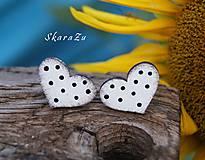 Náušnice - Heart dots mini // White/Black - 10935596_
