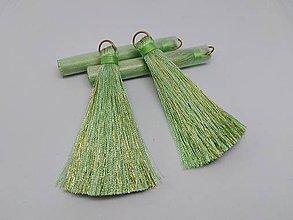 Polotovary - Veľké hodvábne strapčeky - pár- zľava (Zelená svetlá) - 10936364_