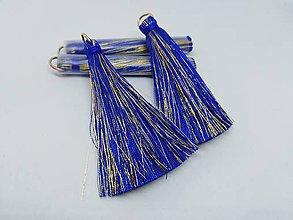 Polotovary - Veľké hodvábne strapčeky - pár- zľava (Modrá) - 10936372_