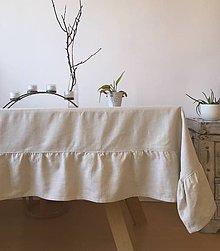 Úžitkový textil - Ľanový obrus s volánom - 10937466_