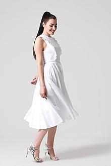 Šaty - Šaty Midi z bielej madeiry - 10940983_