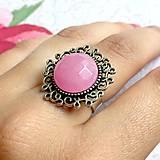 Prstene - Raspberry Jade Antique Silver Ring / Prsteň s malinovým jadeitom v starostriebornom prevedení #2201 - 10939618_