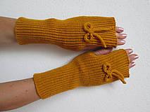 Rukavice - Návleky na ruce - hořčicové - 10941149_