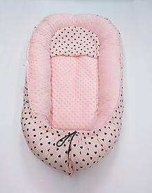 Textil - Hniezdo pre bábätko marhuľové so srdiečkami - 10939296_