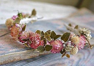 Ozdoby do vlasov - Kvetinová čelenka Romantická ružová - 10939849_