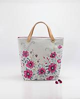 """Kabelky - Ručne maľovaná kvetinová kabelka z ľanu """"Fuchsia Florie II."""" - 10939437_"""