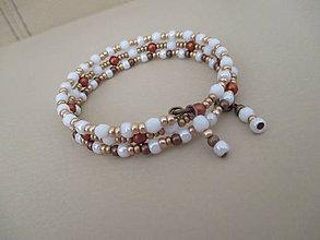 Náramky - Obručový náramok - bielo/medeno/zlatý - 10938901_