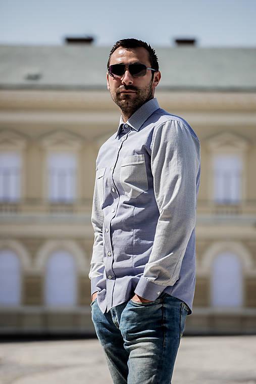 Oblečenie - Pánska košeľa modré štvorčeky - 10940228_