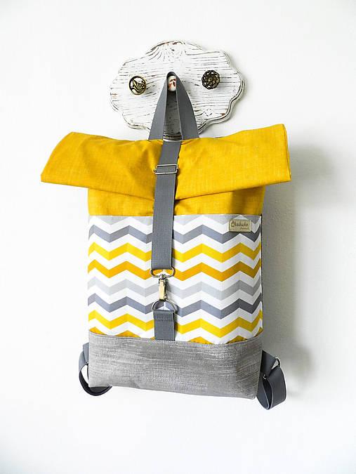 Rolltop batoh chevron horčicovo-sivý II.