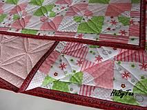 Úžitkový textil - Ružovo-zelena prikrývka - 10940093_
