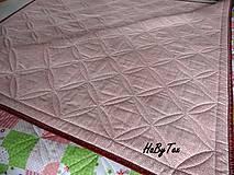 Úžitkový textil - Ružovo-zelena prikrývka - 10940097_