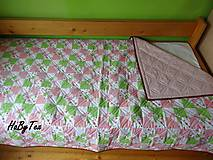 Úžitkový textil - Ružovo-zelena prikrývka - 10940098_