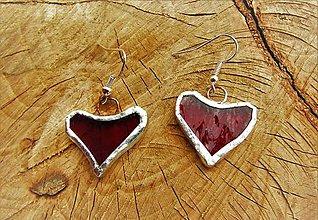 Náušnice - náušnice - srdce červené - 10939861_