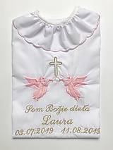 Detské oblečenie - Košieľka na krst K33 ružovo-zlatá - 10940191_
