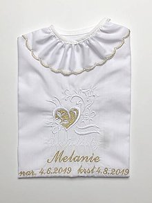 Detské oblečenie - Košieľka na krst K12 bielo-zlatá - 10940126_