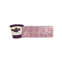 Magnetky - Dôležité je to, čo je vo vnútri - magnetky na chladničku (čučoriedkový jogurt) - 10939113_