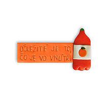 Magnetky - Dôležité je to, čo je vo vnútri - magnetky na chladničku (pomarančový džús) - 10939127_