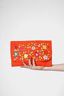 Kabelky - Kabelka listová oranžová vyšívaná - 10943405_