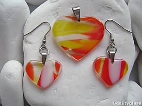 Sady šperkov - Červenobieložlté srdiečka - 10942516_