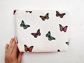 Taštičky - Taštička objemná väčšia - Farebné motýle - 10943511_