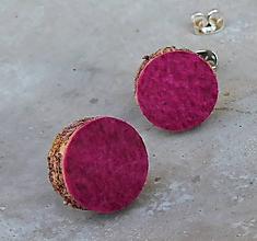 Náušnice - napichovačky pravá koža pink - 10943545_