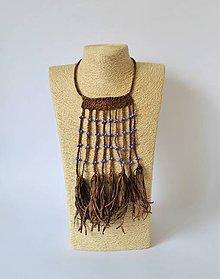 Náhrdelníky - Kožený náhrdelník, šperky v egyptskom štýle - 10942308_