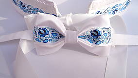 Doplnky - Folklórny modro biely pánsky motýlik saténový - svadobný - 10943547_