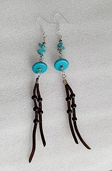 Náušnice - Modré indiánske - 10943455_