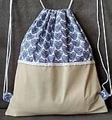 Batohy - Béžový vak- modré srdiečka - 10942071_