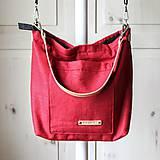 Veľké tašky - Veľká ľanová taška *red* - 10942564_