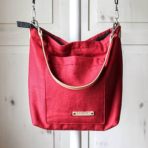 Veľká ľanová taška *red*