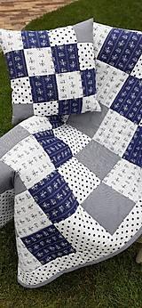 """Úžitkový textil - """"Modrotlač"""" patchworkový prehoz - 10943313_"""
