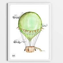 Detské doplnky - Art Print - zelený balón - 10943498_