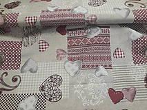 Textil - Srdiečka vínovo-režné...š.140cm - 10942450_