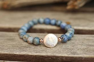 Náramky - Náramok z minerálu achát a perla - 10942553_