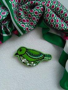 Odznaky/Brošne - Zelený vtáčik (brošňa) - 10944503_