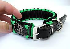 Pre zvieratká - Paracord obojok+ID známka - čierno-zelený - 10943884_