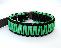Pre zvieratká - Paracord obojok+ID známka - čierno-zelený - 10943886_
