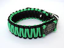 Pre zvieratká - Paracord obojok+ID známka - čierno-zelený - 10943887_