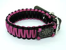 Pre zvieratká - Paracord obojok+ID známka - ružovo-čierny - 10943926_