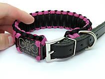 Pre zvieratká - Paracord obojok+ID známka - ružovo-čierny - 10943929_