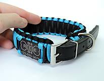 Pre zvieratká - Paracord obojok+ID známka - tyrkysovo-čierny - 10943943_