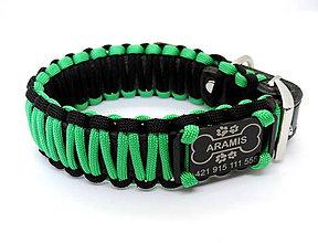 Pre zvieratká - Paracord obojok+ID známka - čierno-zelený - 10943883_